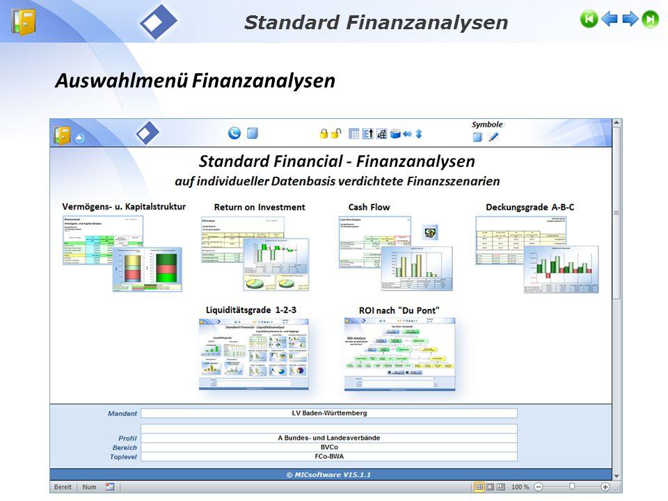 Auswahlmenü Finanzanalysen Standard Finanzanalysen