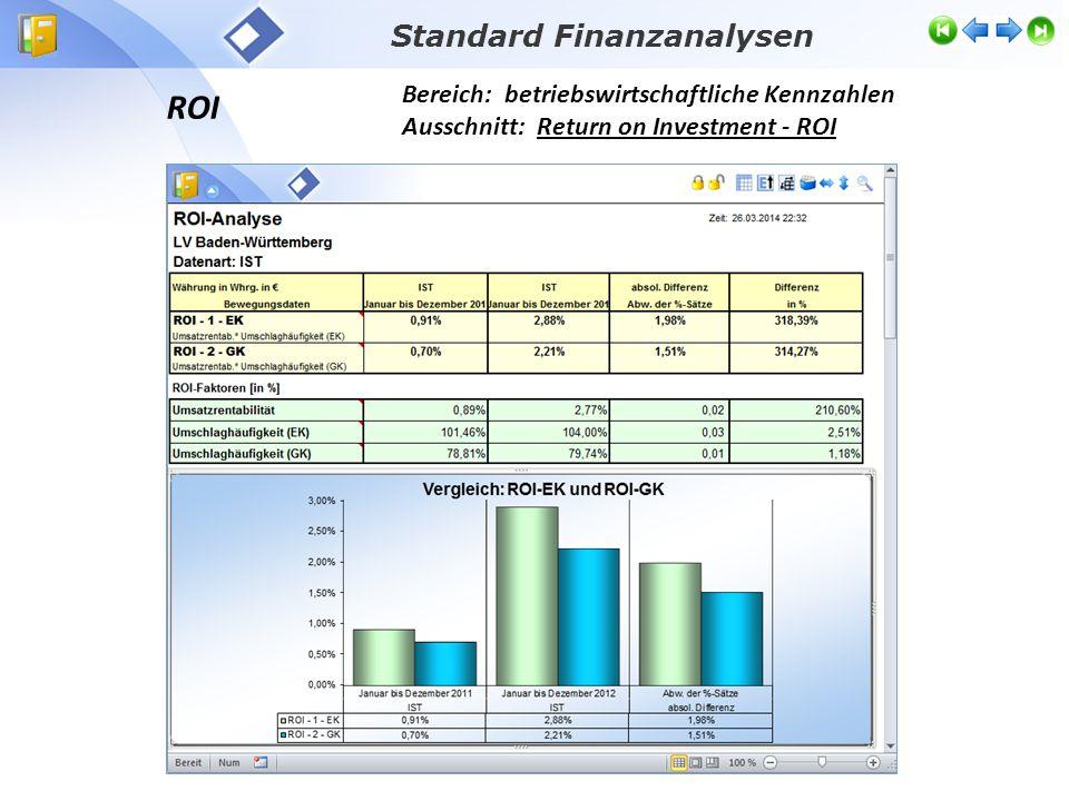 ROI Bereich: betriebswirtschaftliche Kennzahlen Ausschnitt: Return on Investment - ROI Standard Finanzanalysen