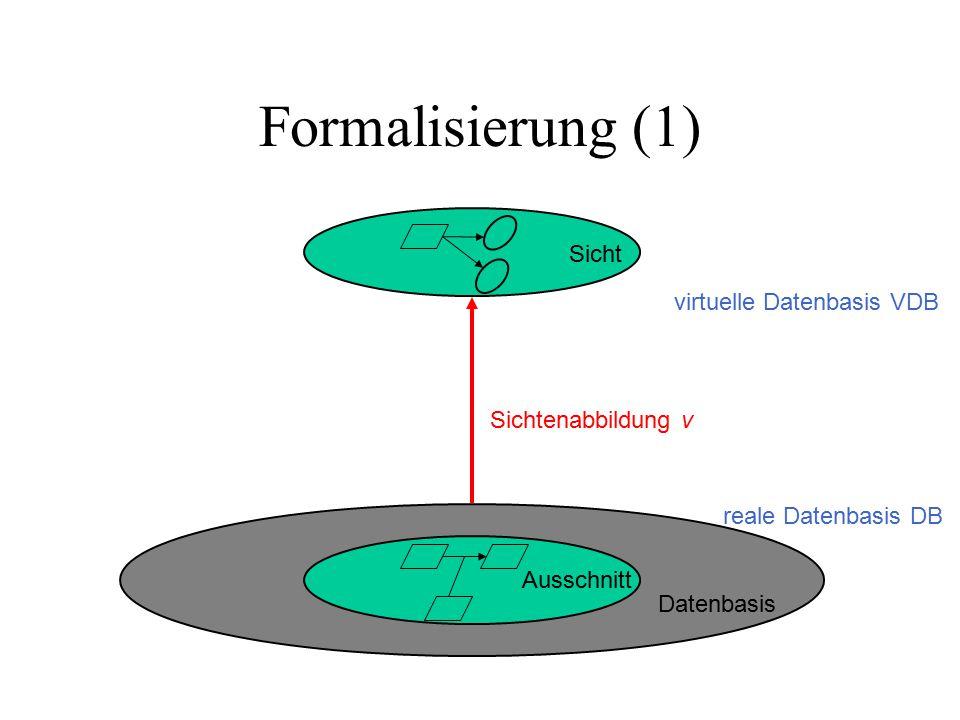 Formalisierung (1) Datenbasis Ausschnitt Sicht Sichtenabbildung v reale Datenbasis DB virtuelle Datenbasis VDB