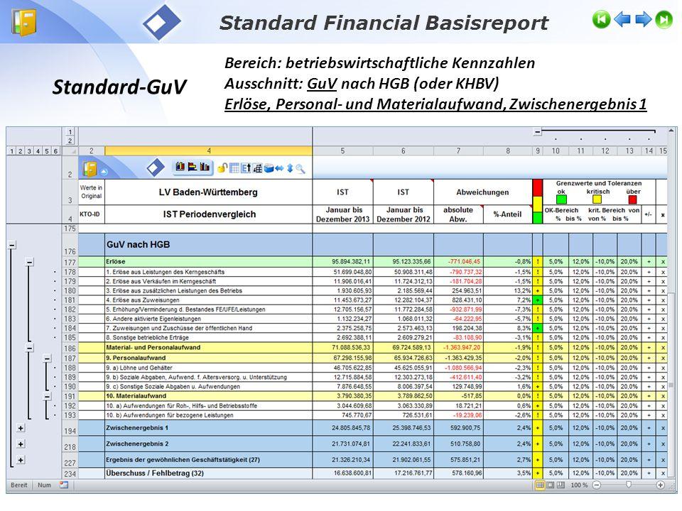 Standard Financial Basisreport Standard-GuV Bereich: betriebswirtschaftliche Kennzahlen Ausschnitt: GuV nach HGB (oder KHBV) Erlöse, Personal- und Mat