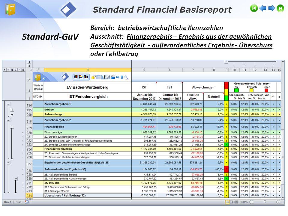 Standard Financial Basisreport Standard-GuV Bereich: betriebswirtschaftliche Kennzahlen Ausschnitt: Finanzergebnis – Ergebnis aus der gewöhnlichen Ges