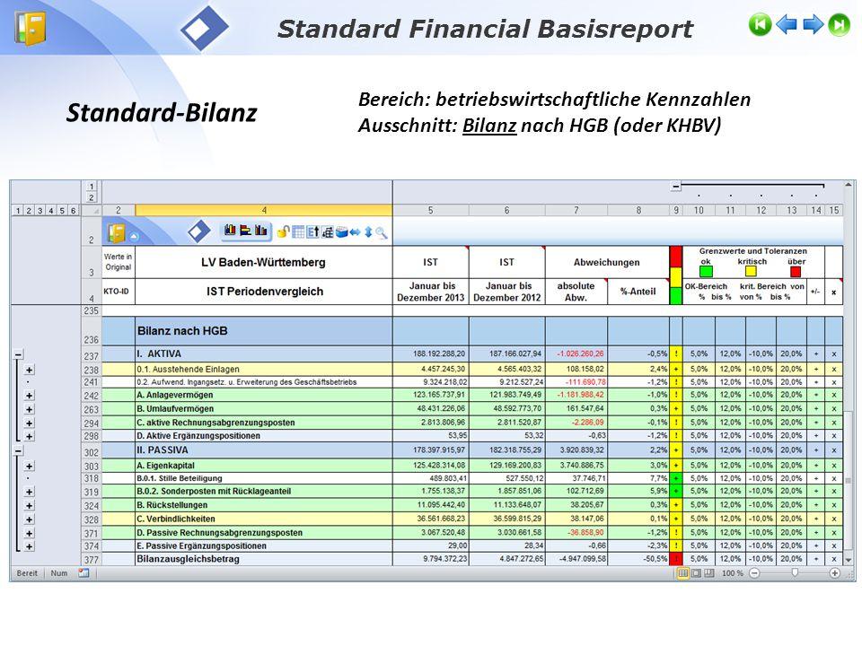 Standard Financial Basisreport Standard-Bilanz Bereich: betriebswirtschaftliche Kennzahlen Ausschnitt: Bilanz nach HGB (oder KHBV)