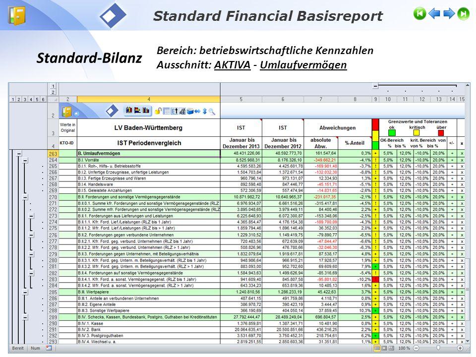 Standard-Bilanz Bereich: betriebswirtschaftliche Kennzahlen Ausschnitt: AKTIVA - Umlaufvermögen Standard Financial Basisreport