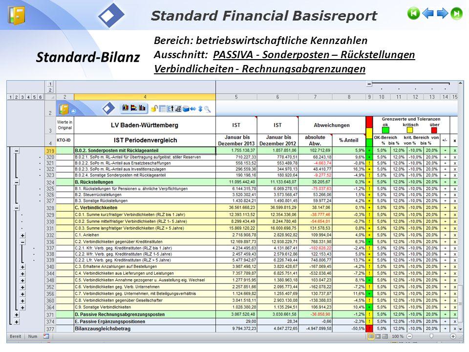 Standard-Bilanz Bereich: betriebswirtschaftliche Kennzahlen Ausschnitt: PASSIVA - Sonderposten – Rückstellungen Verbindlicheiten - Rechnungsabgrenzung