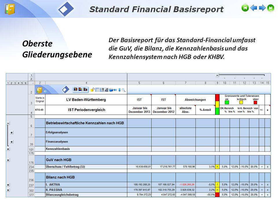 Oberste Gliederungsebene Der Basisreport für das Standard-Financial umfasst die GuV, die Bilanz, die Kennzahlenbasis und das Kennzahlensystem nach HGB