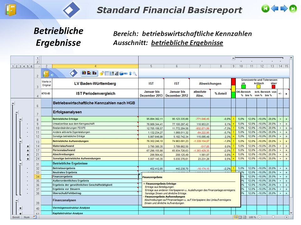 Betriebliche Ergebnisse Bereich: betriebswirtschaftliche Kennzahlen Ausschnitt: betriebliche Ergebnisse Standard Financial Basisreport