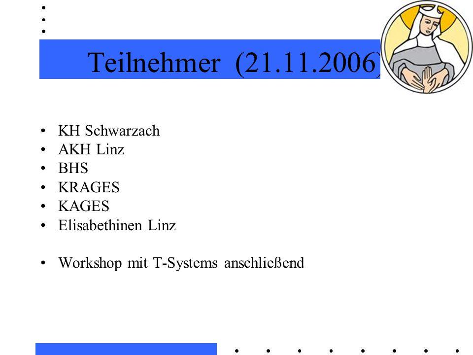Teilnehmer (21.11.2006) KH Schwarzach AKH Linz BHS KRAGES KAGES Elisabethinen Linz Workshop mit T-Systems anschließend