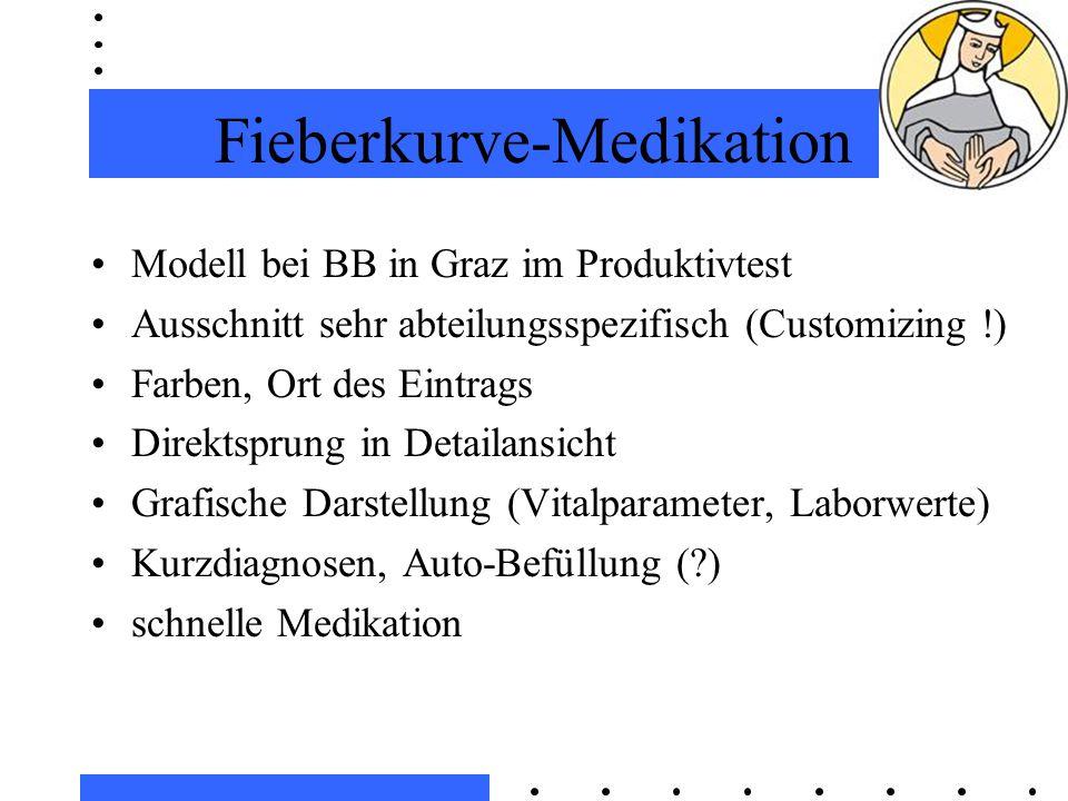 Fieberkurve-Medikation Modell bei BB in Graz im Produktivtest Ausschnitt sehr abteilungsspezifisch (Customizing !) Farben, Ort des Eintrags Direktsprung in Detailansicht Grafische Darstellung (Vitalparameter, Laborwerte) Kurzdiagnosen, Auto-Befüllung (?) schnelle Medikation