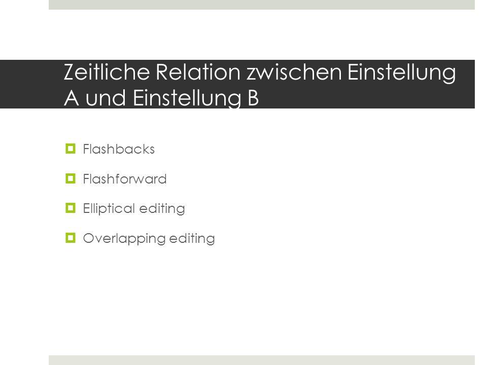 Zeitliche Relation zwischen Einstellung A und Einstellung B  Flashbacks  Flashforward  Elliptical editing  Overlapping editing