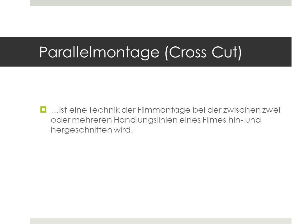 Parallelmontage (Cross Cut)  …ist eine Technik der Filmmontage bei der zwischen zwei oder mehreren Handlungslinien eines Filmes hin- und hergeschnitt