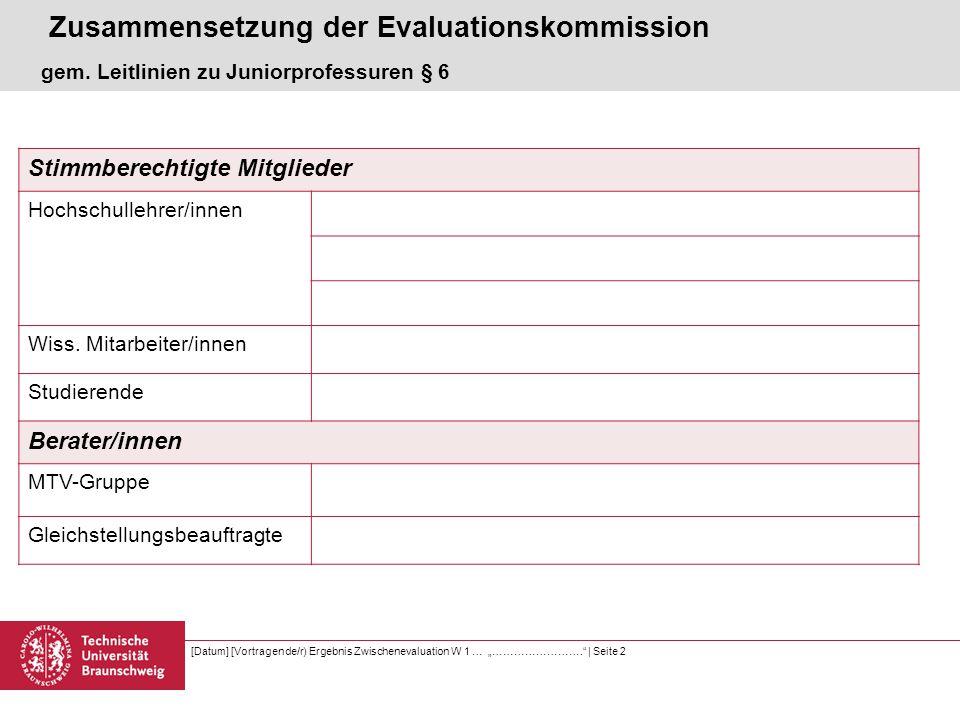"""[Datum] [Vortragende/r) Ergebnis Zwischenevaluation W 1 … """"…………………….   Seite 3 Kandidat Juniorprofessur an der TU Braunschweig seit 01.09.2011 Juniorprofessor Dr."""