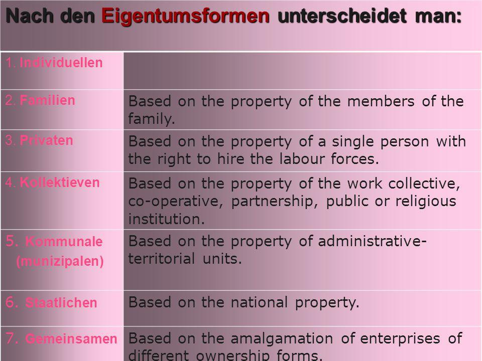 Nach den Eigentumsformen unterscheidet man: 1. Individuellen 2.