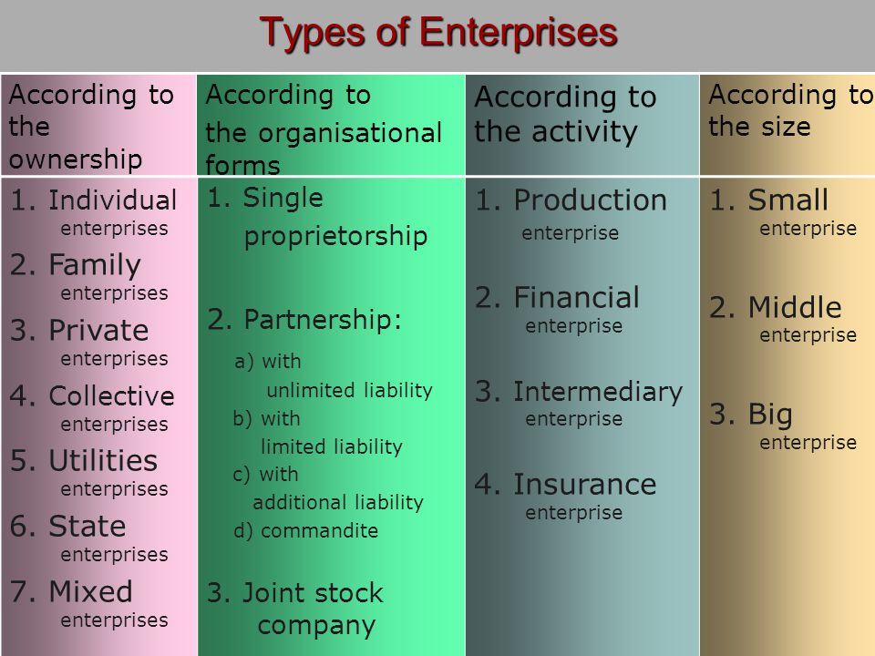 Types of Enterprises According to the ownership forms According to the organisational forms According to the activity According to the size 1.