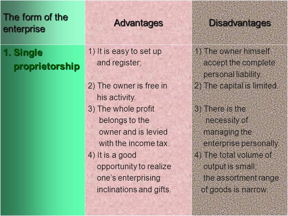 i The form of the enterprise AdvantagesDisadvantages 1.