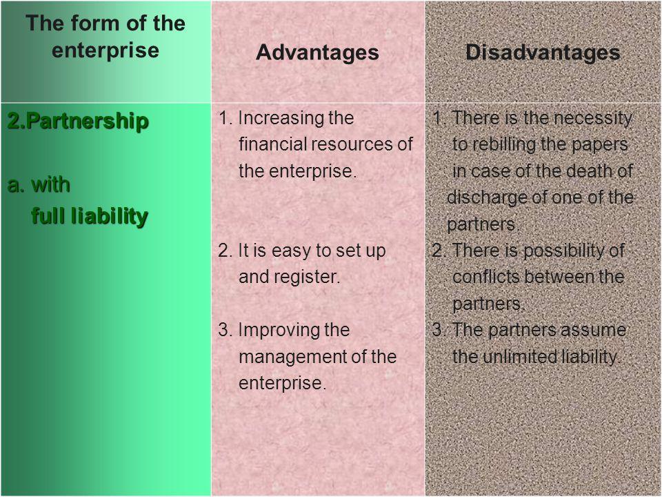 The form of the enterprise AdvantagesDisadvantages 2.Partnership a.