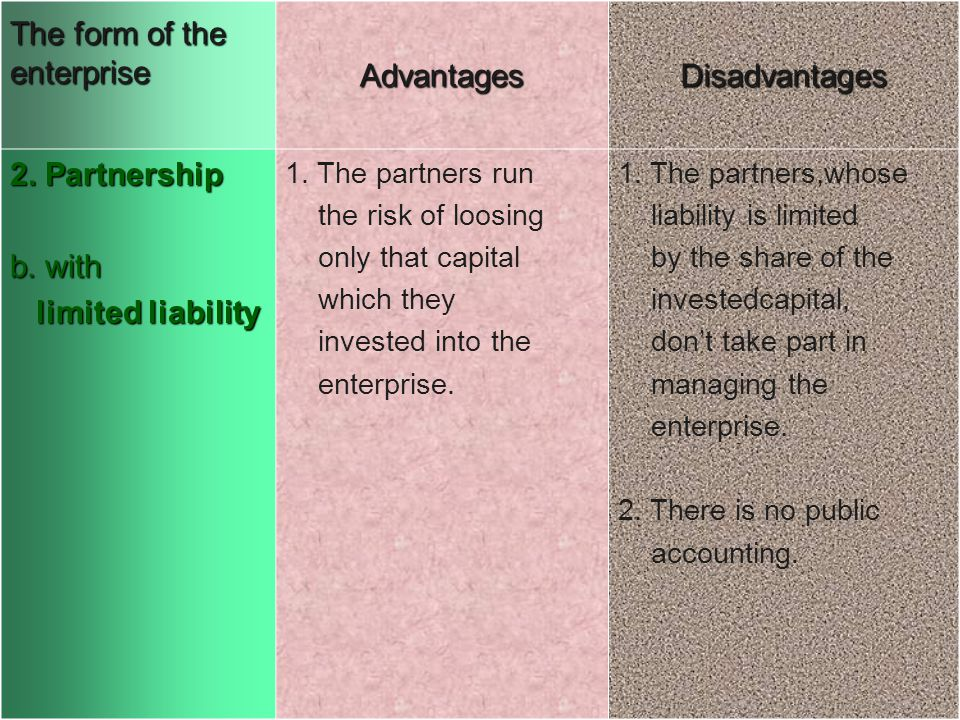 The form of the enterprise AdvantagesDisadvantages 2. Partnership b. with limited liability limited liability 1. The partners run the risk of loosing