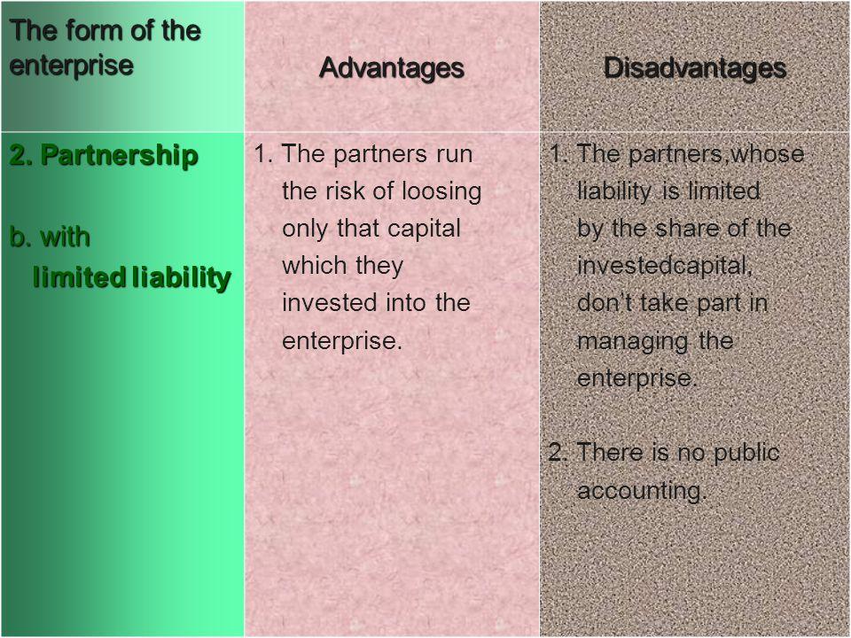 The form of the enterprise AdvantagesDisadvantages 2.