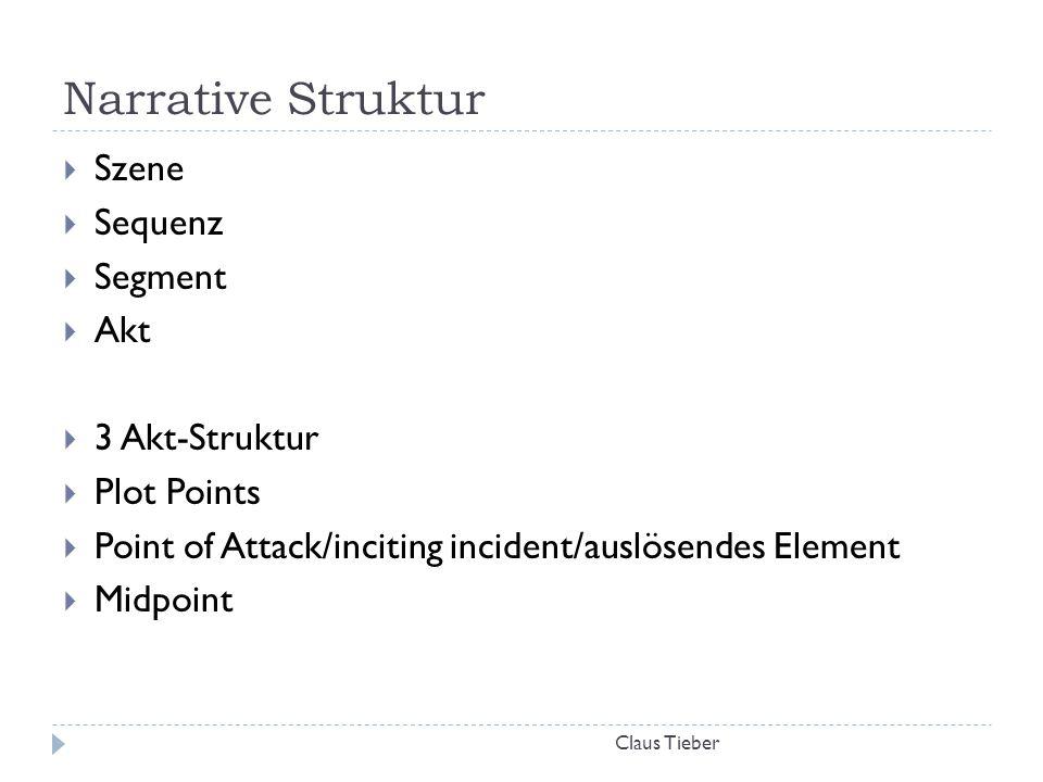 Narrative Struktur Claus Tieber  Szene  Sequenz  Segment  Akt  3 Akt-Struktur  Plot Points  Point of Attack/inciting incident/auslösendes Eleme