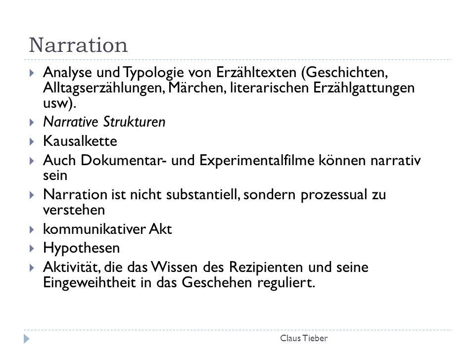 Narration Claus Tieber  Analyse und Typologie von Erzähltexten (Geschichten, Alltagserzählungen, Märchen, literarischen Erzählgattungen usw).  Narra