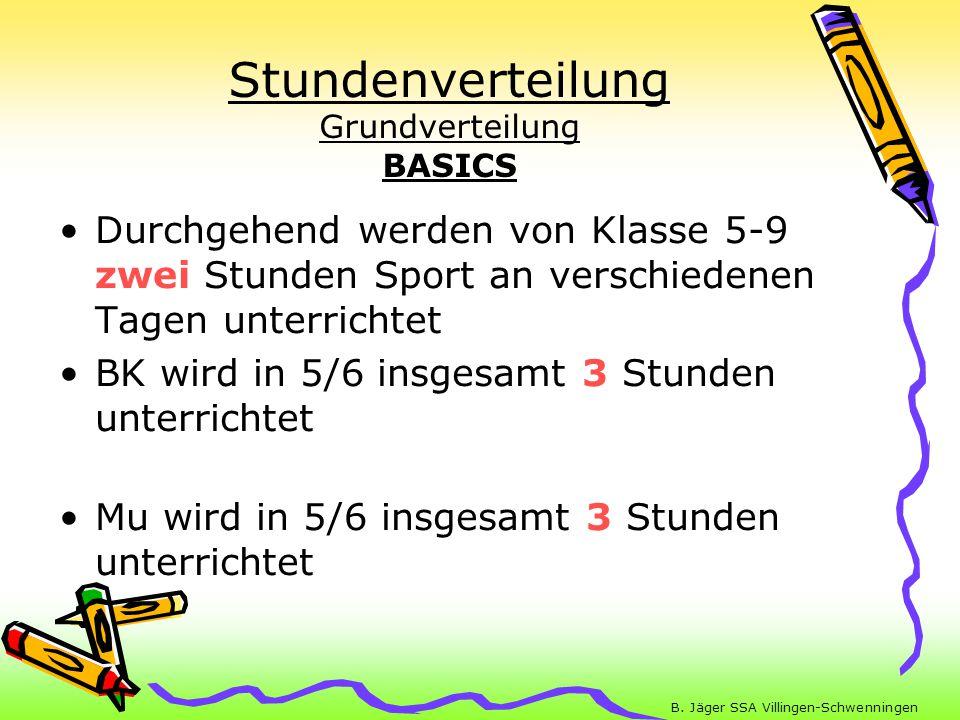 B. Jäger SSA Villingen-Schwenningen Stundenverteilung Grundverteilung BASICS Durchgehend werden von Klasse 5-9 zwei Stunden Sport an verschiedenen Tag