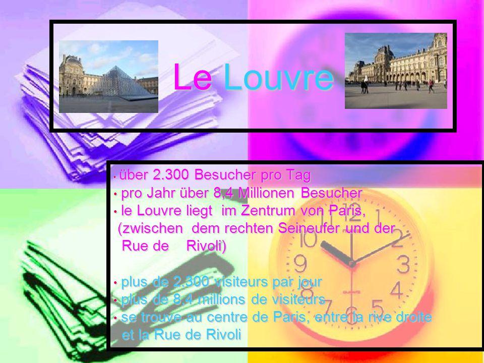 Le Louvre über 2.300 Besucher pro Tag über 2.300 Besucher pro Tag pro Jahr über 8,4 Millionen Besucher pro Jahr über 8,4 Millionen Besucher le Louvre