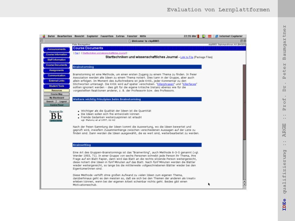 Evaluation von Lernplattformen IDEe qualifizierung :: ARGE :: Prof. Dr. Peter Baumgartner