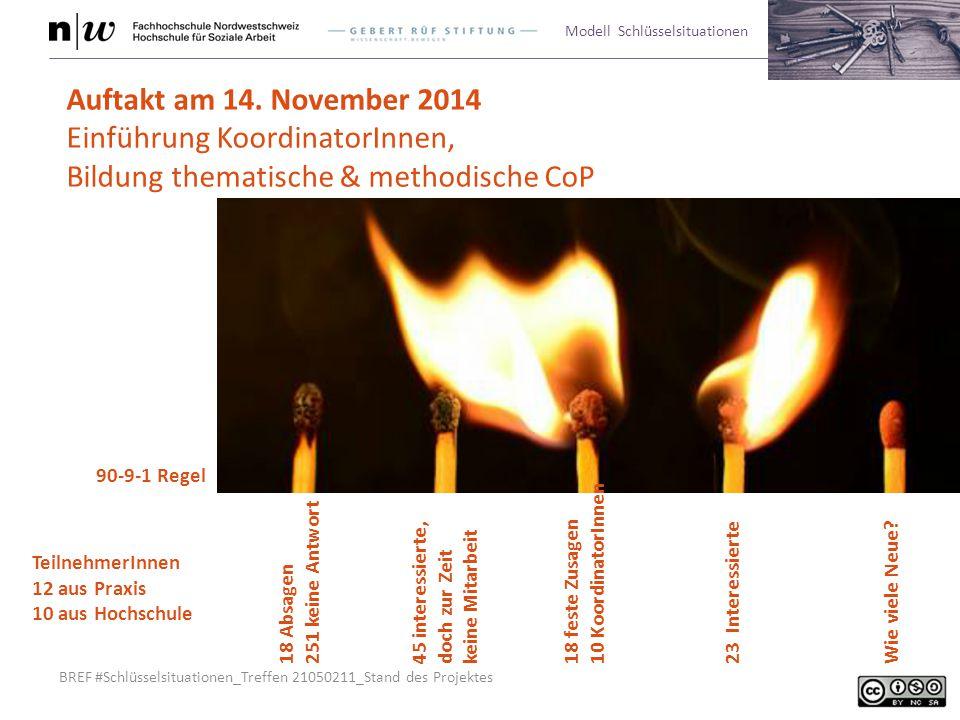 BREF #Schlüsselsituationen_Treffen 21050211_Stand des Projektes Modell Schlüsselsituationen Auftakt am 14. November 2014 Einführung KoordinatorInnen,