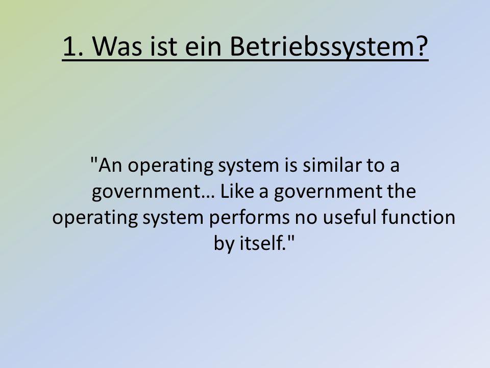 Ein Betriebssystem ist die Software, die die Verwendung (den Betrieb) eines Computers ermöglicht.