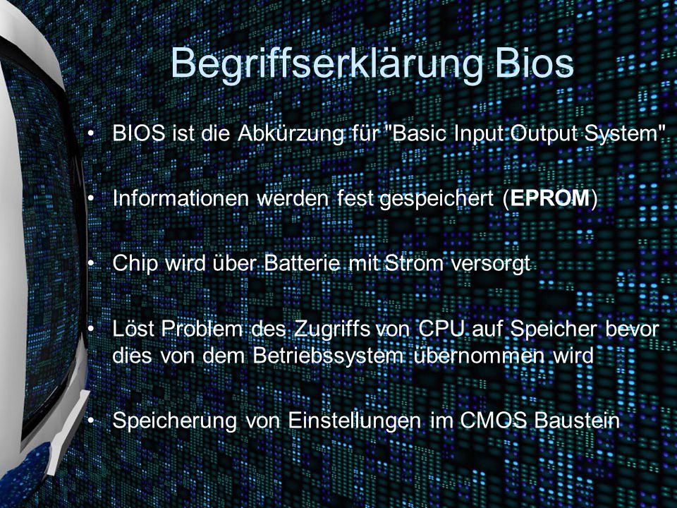 """Aufgaben des Bios Power On Self-Test (POST) Initialisierung der Hardware Aufforderung zur Eingabe eines BIOS-Passworts (falls konfiguriert) Aufforderung zur Eingabe eines Festplatten-Passworts (falls konfiguriert) Darstellung eines Startbildschirms Möglichkeit ein BIOS-Konfigurationsmenü (""""BIOS-Setup ) aufzurufen Aufrufen von BIOS-Erweiterungen, die auf Steckkarten untergebracht sind"""