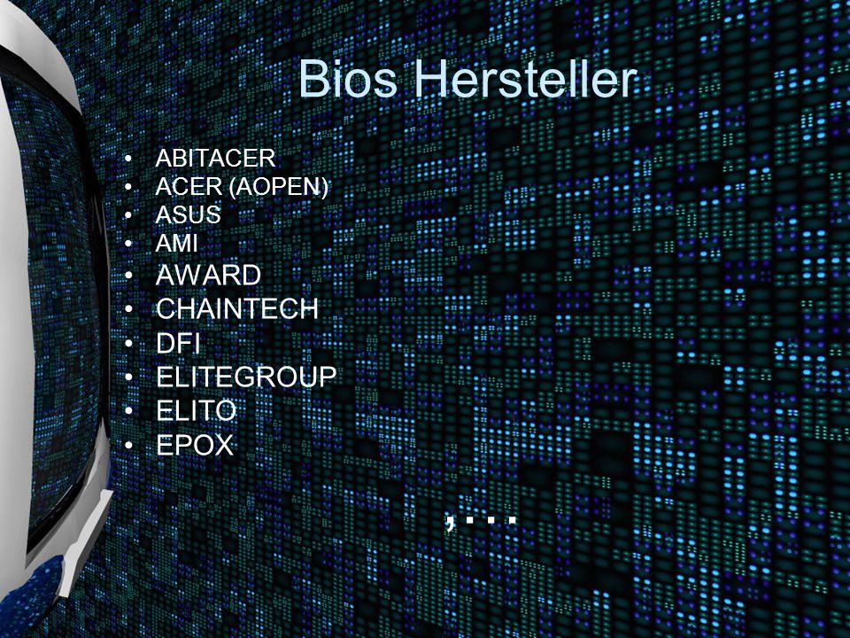 Bios Hersteller ABITACER ACER (AOPEN) ASUS AMI AWARD CHAINTECH DFI ELITEGROUP ELITO EPOX,…