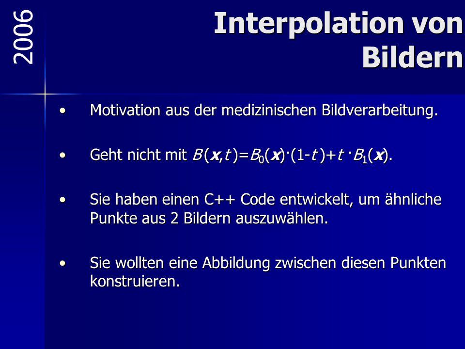 Interpolation von Bildern Motivation aus der medizinischen Bildverarbeitung.Motivation aus der medizinischen Bildverarbeitung. Geht nicht mit B (x,t )