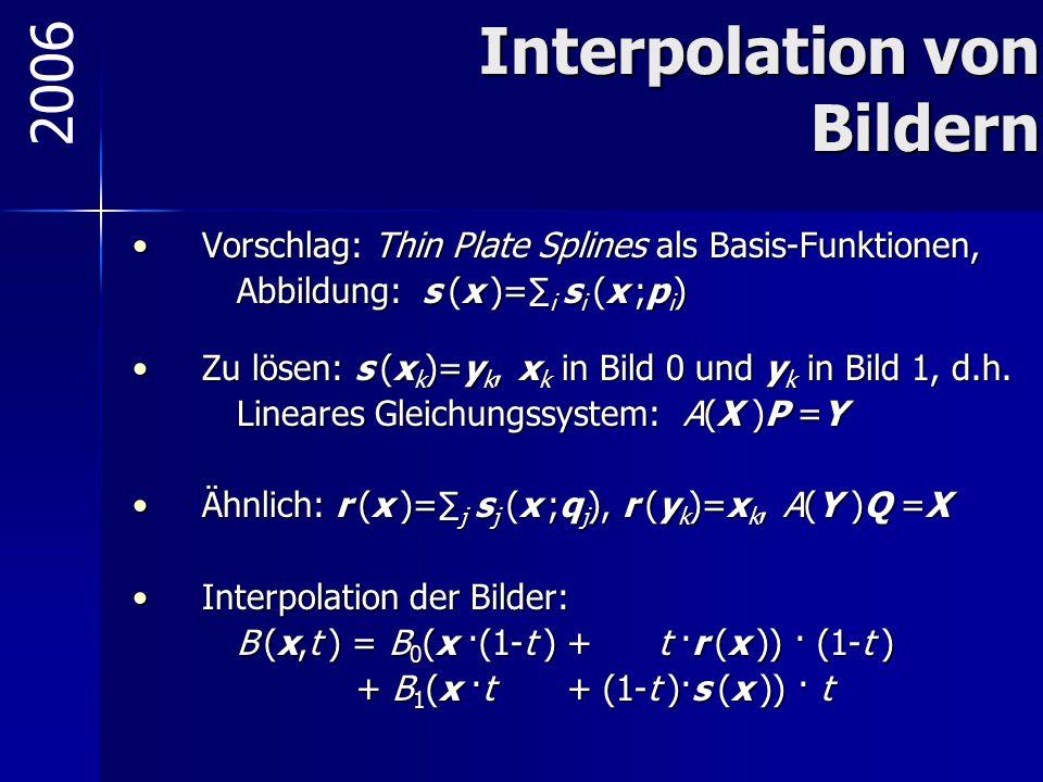 Interpolation von Bildern Vorschlag: Thin Plate Splines als Basis-Funktionen,Vorschlag: Thin Plate Splines als Basis-Funktionen, Abbildung: s (x )=∑ i