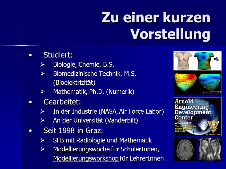 Zu einer kurzen Vorstellung Studiert:Studiert:  Biologie, Chemie, B.S.  Biomedizinische Technik, M.S. (Bioelektrizität)  Mathematik, Ph.D. (Numerik