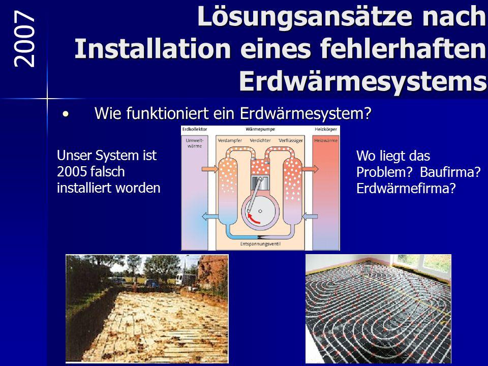 Lösungsansätze nach Installation eines fehlerhaften Erdwärmesystems Wie funktioniert ein Erdwärmesystem?Wie funktioniert ein Erdwärmesystem? 2007 Unse