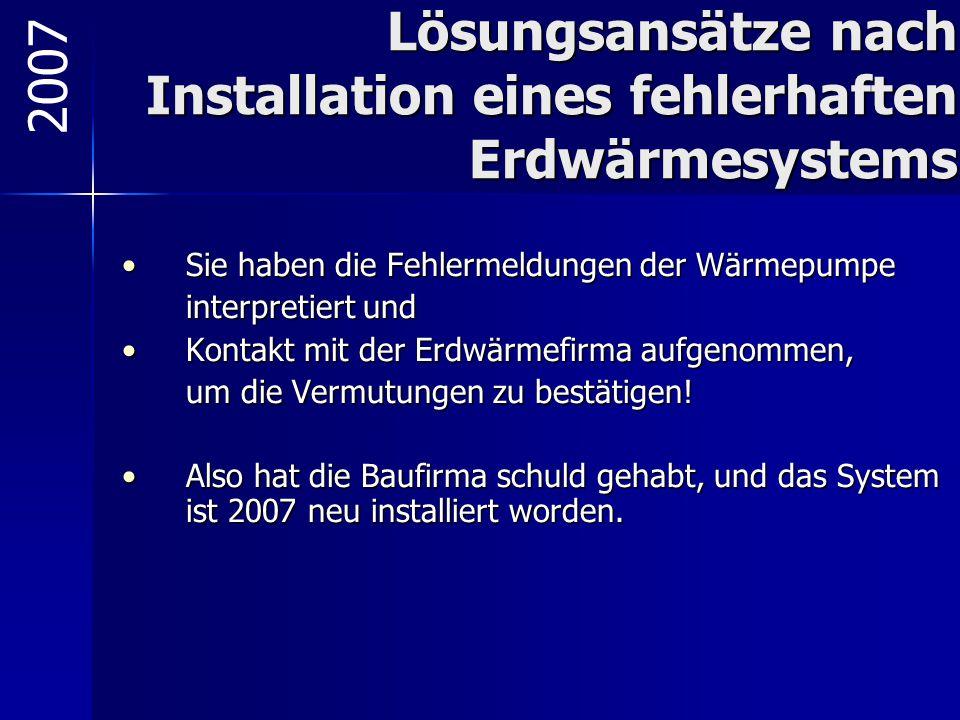 Lösungsansätze nach Installation eines fehlerhaften Erdwärmesystems Sie haben die Fehlermeldungen der WärmepumpeSie haben die Fehlermeldungen der Wärm