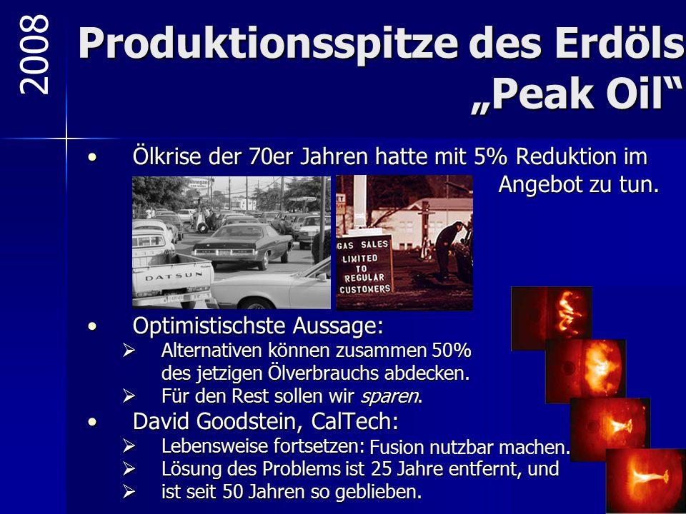 "Produktionsspitze des Erdöls ""Peak Oil"" Ölkrise der 70er Jahren hatte mit 5% Reduktion imÖlkrise der 70er Jahren hatte mit 5% Reduktion im Angebot zu"