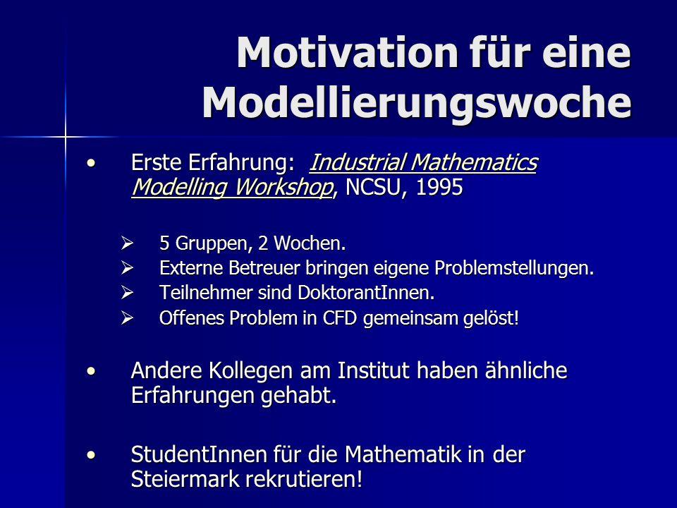 Motivation für eine Modellierungswoche Erste Erfahrung: Industrial Mathematics Modelling Workshop, NCSU, 1995Erste Erfahrung: Industrial Mathematics M