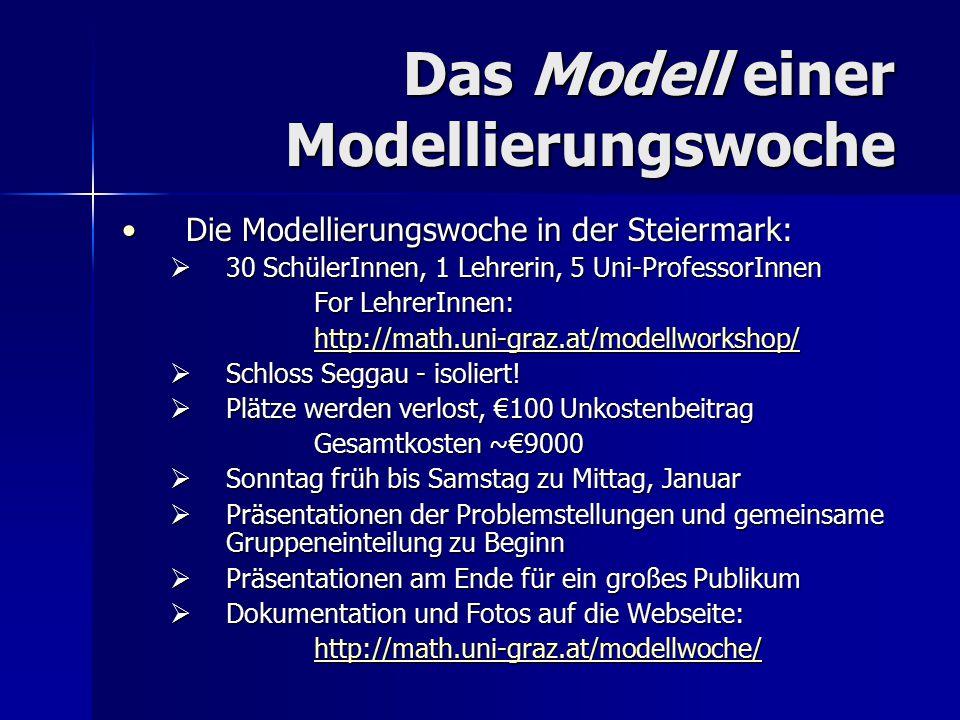 Das Modell einer Modellierungswoche Die Modellierungswoche in der Steiermark:Die Modellierungswoche in der Steiermark:  Voraussetzungen: keine Grenzen, Matrizen, Statistik, Differentialgleichungen, Programmieren, usw.