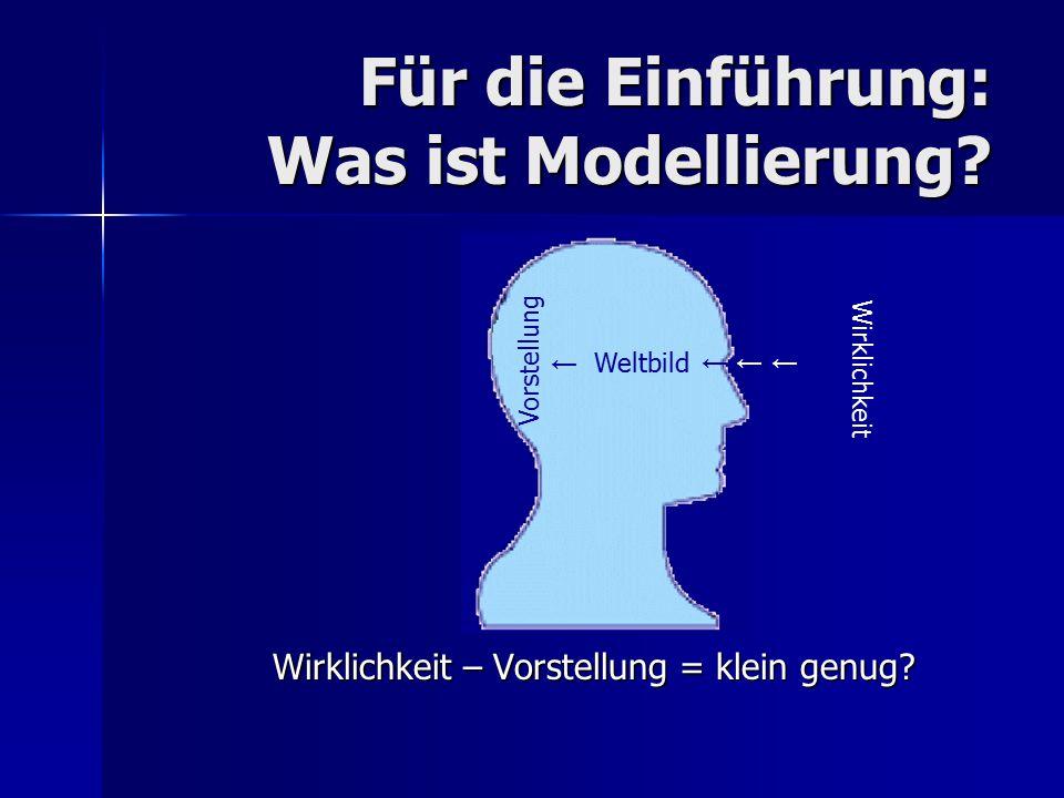 Für die Einführung: Was ist Modellierung? Wirklichkeit – Vorstellung = klein genug? Wirklichkeit Weltbild Vorstellung ← ← ←← ← ← ←