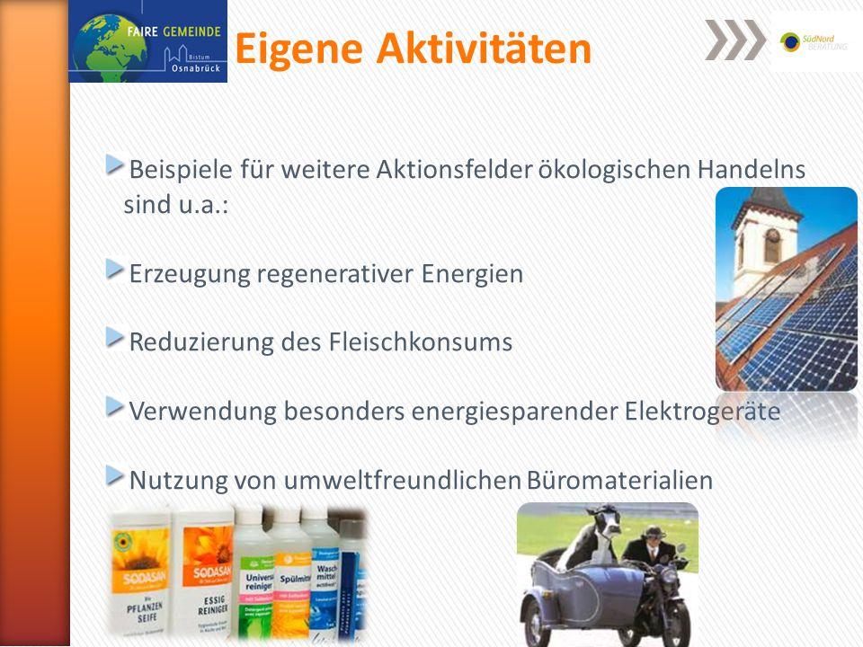 Eigene Aktivitäten Beispiele für weitere Aktionsfelder ökologischen Handelns sind u.a.: Erzeugung regenerativer Energien Reduzierung des Fleischkonsums Verwendung besonders energiesparender Elektrogeräte Nutzung von umweltfreundlichen Büromaterialien