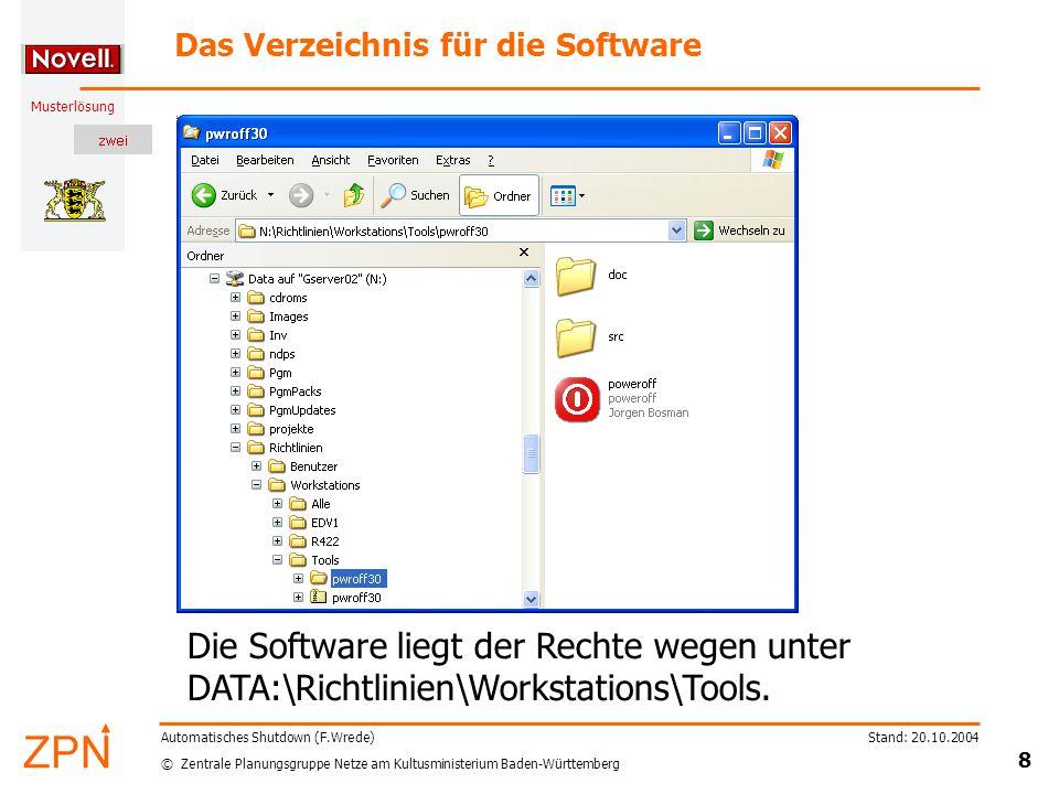© Zentrale Planungsgruppe Netze am Kultusministerium Baden-Württemberg Musterlösung Stand: 20.10.2004 8 Automatisches Shutdown (F.Wrede) Das Verzeichn