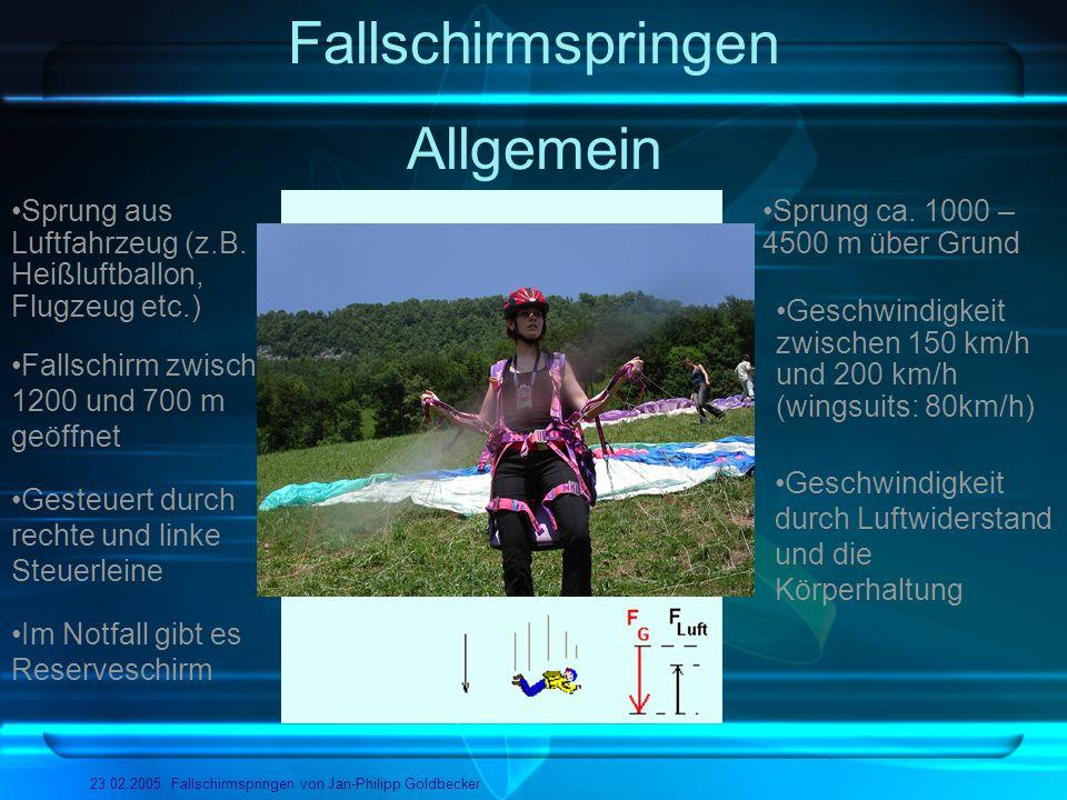 Fallschirmspringen 23.02.2005 Fallschirmspringen von Jan-Philipp Goldbecker Einige Disziplinen Skysurfing/Airsurfing BASE-Jumping Zielspringen Para-Ski Stilspringen Wingsuits Tandem