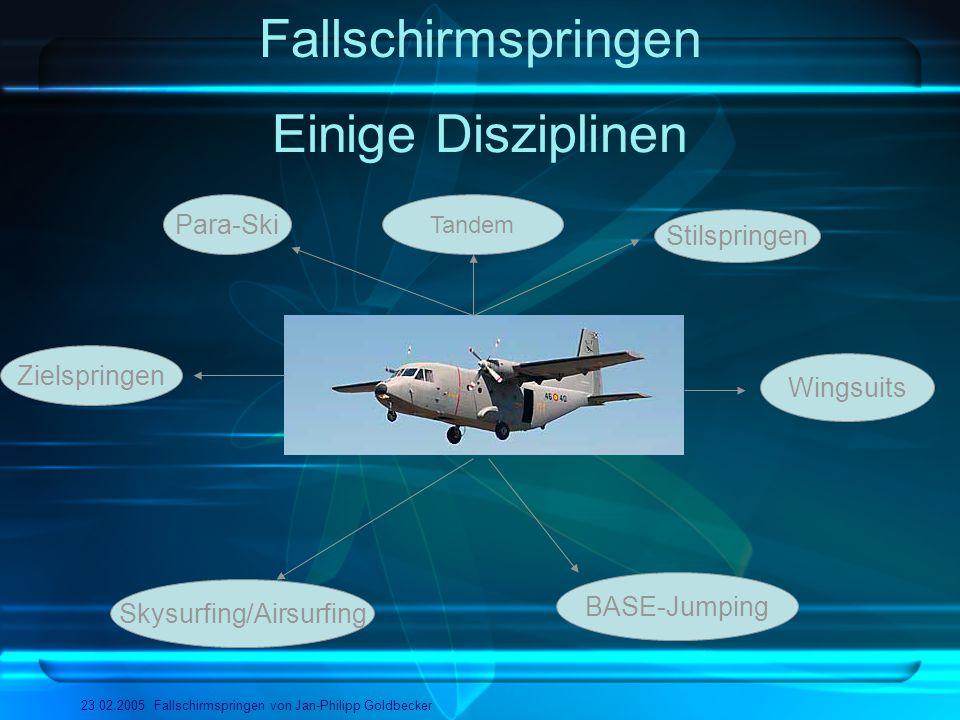 Fallschirmspringen 23.02.2005 Fallschirmspringen von Jan-Philipp Goldbecker Einige Disziplinen Skysurfing/Airsurfing BASE-Jumping Zielspringen Para-Sk