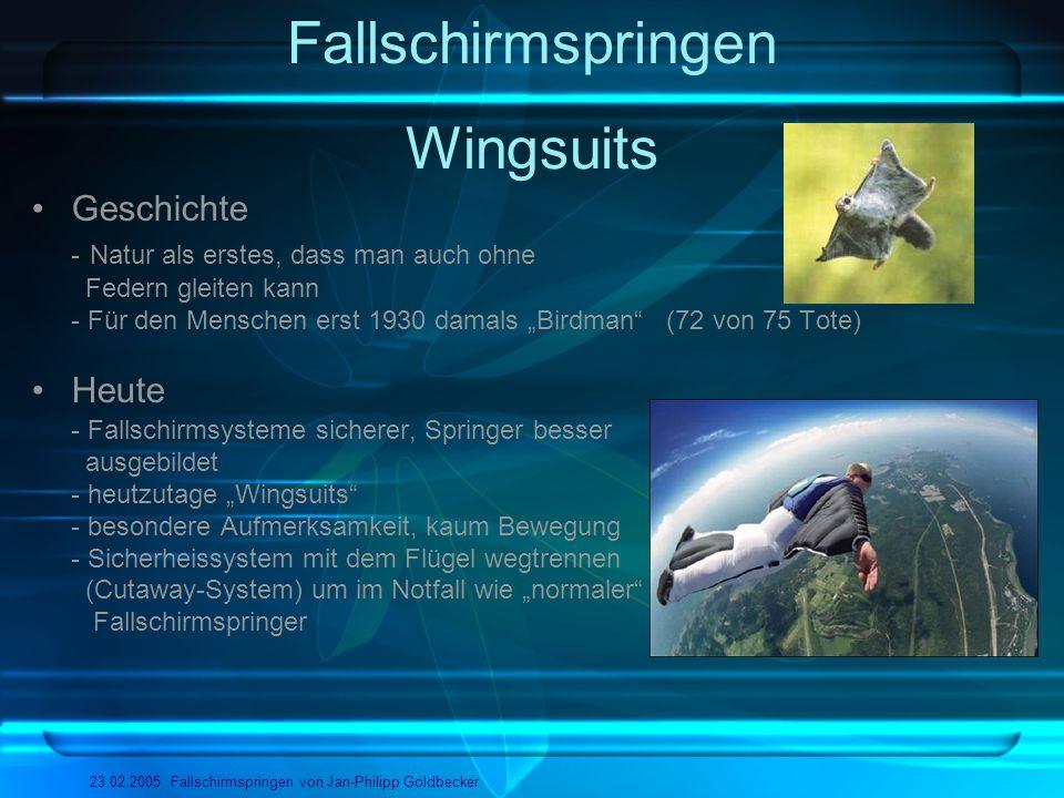 Fallschirmspringen 23.02.2005 Fallschirmspringen von Jan-Philipp Goldbecker Wingsuits Geschichte - Natur als erstes, dass man auch ohne Federn gleiten