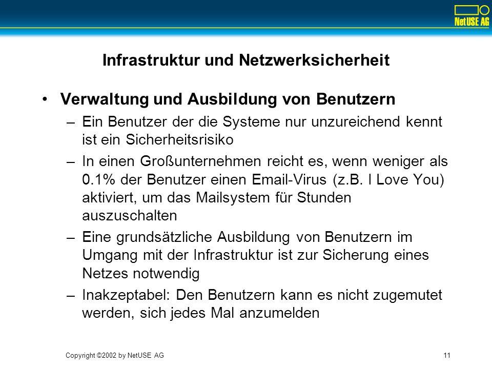 Copyright ©2002 by NetUSE AG11 Infrastruktur und Netzwerksicherheit Verwaltung und Ausbildung von Benutzern –Ein Benutzer der die Systeme nur unzureichend kennt ist ein Sicherheitsrisiko –In einen Großunternehmen reicht es, wenn weniger als 0.1% der Benutzer einen Email-Virus (z.B.