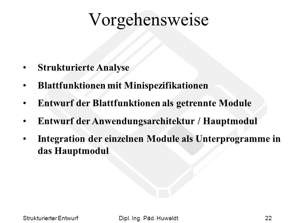 Strukturierter EntwurfDipl. Ing. Päd. Huwaldt22 Vorgehensweise Strukturierte Analyse Blattfunktionen mit Minispezifikationen Entwurf der Blattfunktion