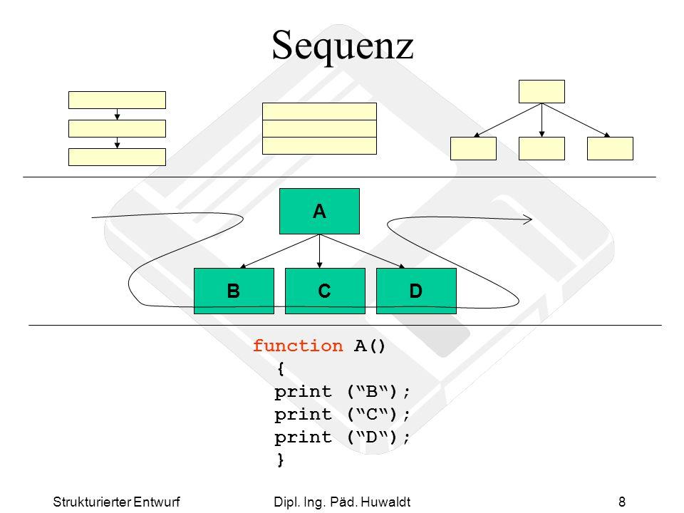 "Strukturierter EntwurfDipl. Ing. Päd. Huwaldt8 Sequenz A BCD function A() { print (""B""); print (""C""); print (""D""); }"