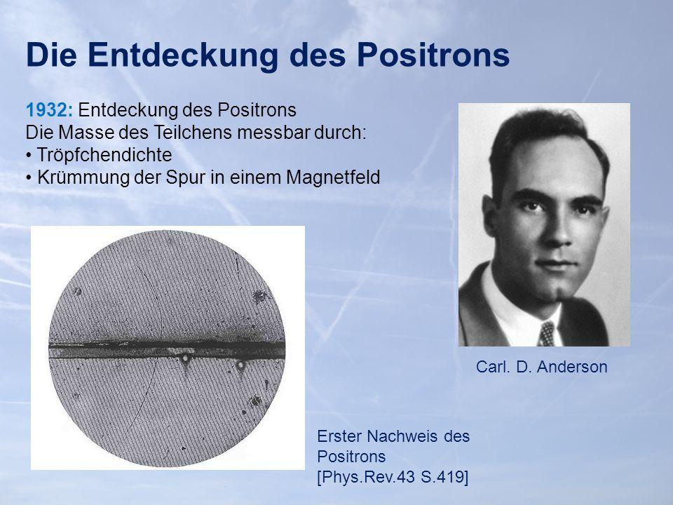 Die Entdeckung des Positrons 1932: Entdeckung des Positrons Die Masse des Teilchens messbar durch: Tröpfchendichte Krümmung der Spur in einem Magnetfeld Carl.