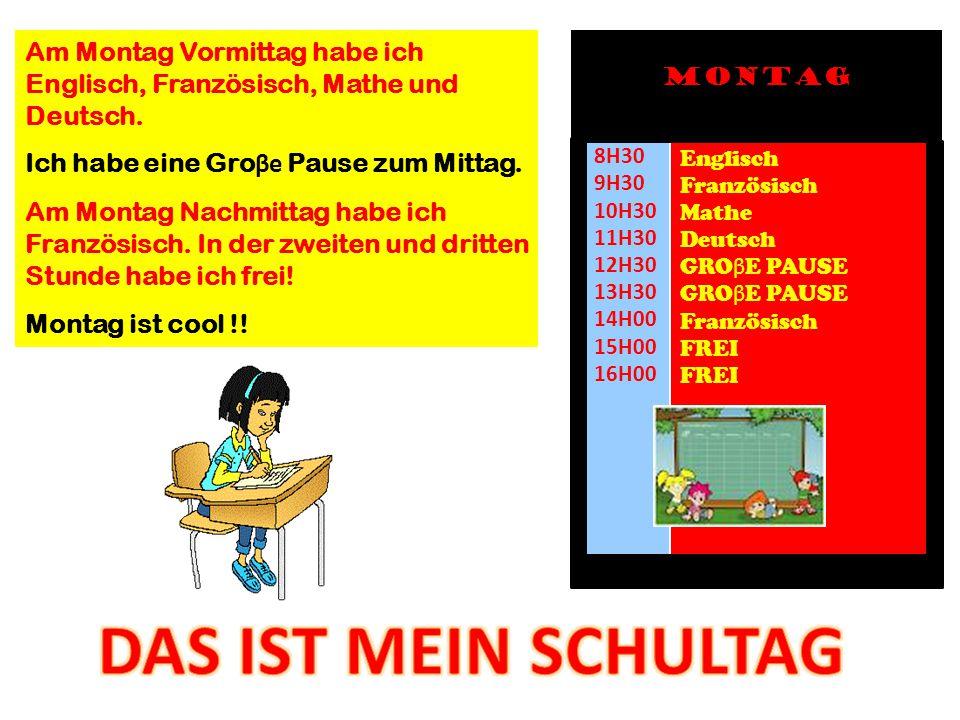 Am Montag Vormittag habe ich Englisch, Französisch, Mathe und Deutsch.