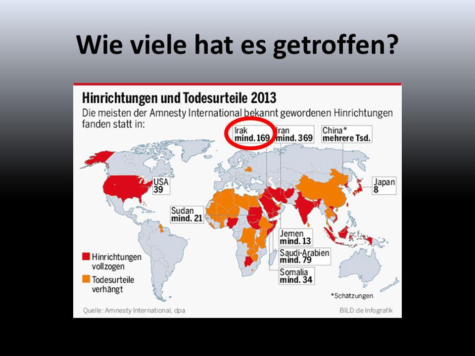 Laut Bild.de belegt der Irak Platz 3 mit mindestens 169 vollzogenen Hinrichtungen in 2013.